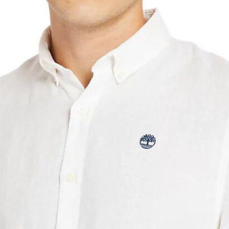 Timberland SS Linen Shirt - Weiß - Draufsicht