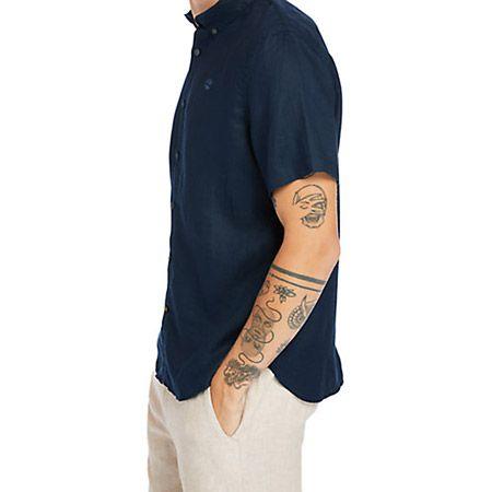 Timberland A2DCC433 SS Linen Shirt - Blau - Seitenansicht