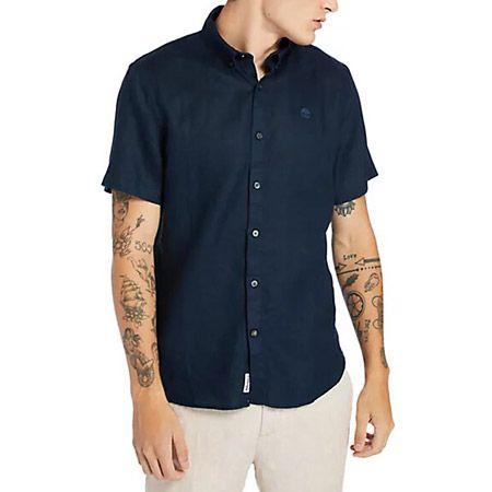 Timberland A2DCC433 SS Linen Shirt - Blau - Hauptansicht
