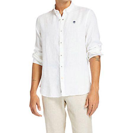 Timberland LS Linen Shirt - Weiß - Seitenansicht