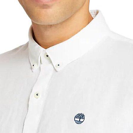 Timberland LS Linen Shirt - Weiß - Draufsicht