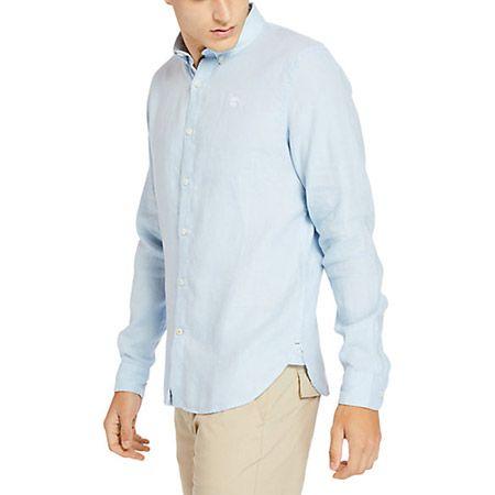 Timberland LS Linen Shirt - Blau - Seitenansicht